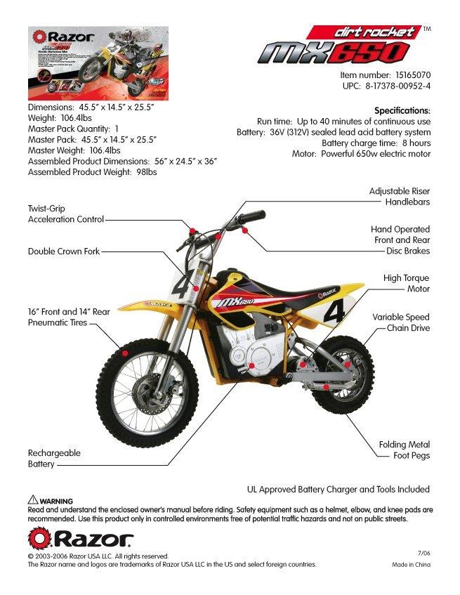 Razor MX650 Specs
